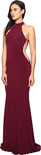 Faviana Women's Jersey Halter w/ Illusion Cut Out 7943 Bordeaux Dress