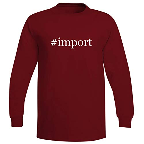 - #Import - A Soft & Comfortable Hashtag Men's Long Sleeve T-Shirt, Red, X-Large