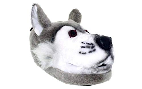 Happy Feet 9001-3 - Gray Wolf - Large Animal Slippers -
