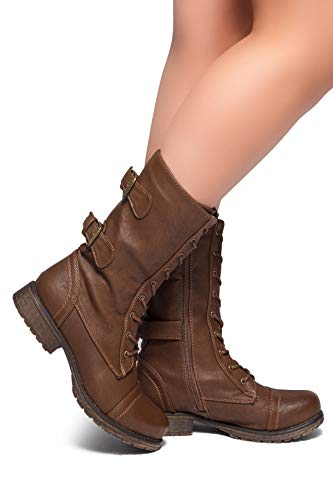Herstyle Florence2 Women's Military Lace Up, Double Buckled, Middle Calf Combat Boots Brown 10
