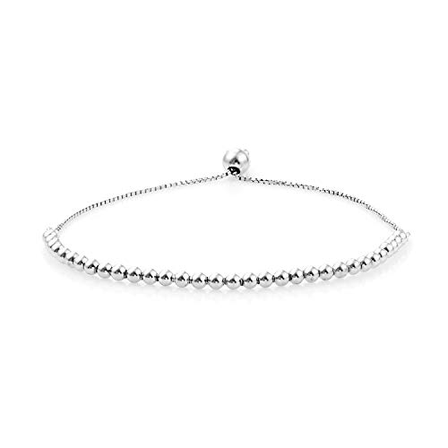 925 Sterling Silver Rhodium Plated Bolo Cuff Bangle Bracelet for Women Adjustable Jewelry 4 g