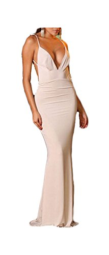 made2envy Deep V Neckline Backless Evening Gown (L, White) LC6953LW (White Prom Dress Backless)