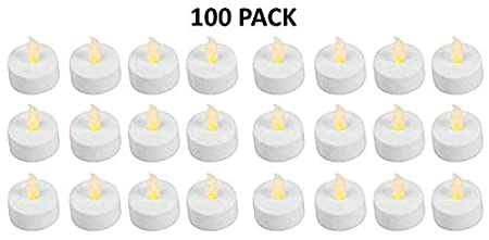 Flameless LED Battery Operated Tealight Candles 100 Bulk Pack of White Tealights Easy Gift Ideas PWHITETEALIGHTS01