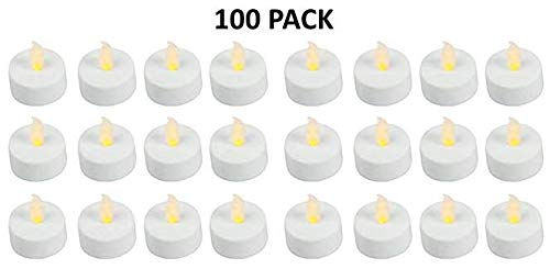 Flameless LED Battery Operated Tealight Candles 100 Bulk Pack of White Tealights]()
