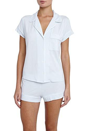 - Eberjey Women's Gisele Two-Piece Short Sleeve & Short Pajama Sleepwear Set, White/Water Blue Piping, Large