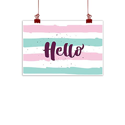"Sunset glow Canvas Wall Art Hello,Soft Pastel Colored Lines with Calligraphic Design Hand Letter Print,Pink Eggplant Almond Green 36""x32"" Home Decorations Modern Stretched and Artwork"