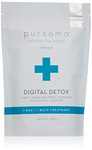 Pursoma Digital Detox Bath Soak | All-Natural Sleep Aid with French Grey Sea Salt and French Green Clay | Relaxing Bath Soak for Relieving Stress and Tension | Digital Wellness Bath Ritual | 10 oz