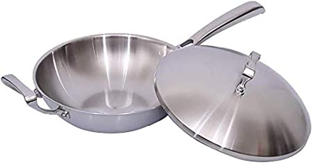 Dpliu-JJ Wok Olla Acero Inoxidable clásico Wok Chef Plana ...