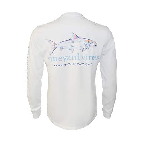 Vineyard Vines Men's Long-Sleeve Graphic Pocket T-Shirt (White Cap Painted Bonefish, X-Small)