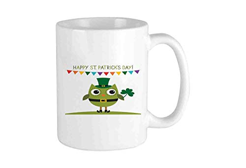 Owl with Leprechaun Costume Greeting Design for Party Shamrock Pattern Funny Coffee Mug Cool Coffee Tea Cup 11 Ounces Perfect Gift for Family and Friend]()