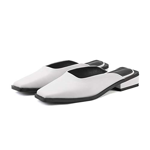 Carré Femmes Dames Femme Décontracté Shallow Chaussures Extérieur Pantoufles Bas Noir Printemps Carrés Bout Pingxiannv White Talons W6HqaXn0ww