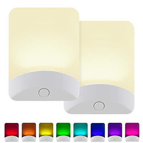GE Color-Changing LED Night Light, 2 Pack, Plug-in, Dusk-to-Dawn, Home Décor, for Kids, Ideal for Bedroom, Bathroom, Nursery, Kitchen, Basement, White Base, 46722 (Led Wall Lights With Decor)