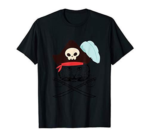Pirate Cats Skull Cross Sword Funny Halloween Gift T Shirt