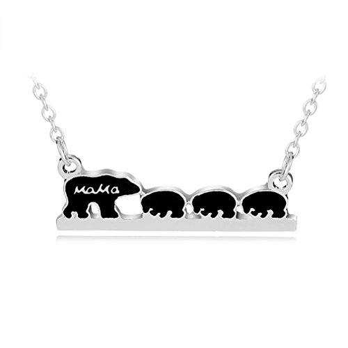 Pendant 1 Mama (HENGSONG Women Girls Plated Silver Bear Shape Alloy Necklace Pendant Charms Chain for Christmas Gift (Mama Four Bear))