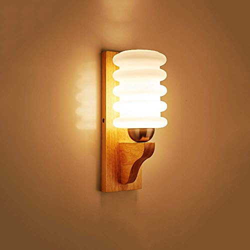 SNQKMLEP Bedroom Wall Lamp Candlestick Nordic Solid Wood Milk White Closed Glass Lampshade Indoor Bedside Wall Lamp Home Living Room Restaurant Study Decoration Wall Lantern E27 (Color : -, Size : -)