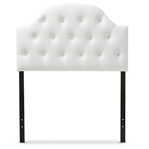 Baxton Studio Maugier Modern and Contemporary White Faux Leather Upholstered Button Tufted Scalloped Headboard, Twin (Five Button Upholstered Headboard)