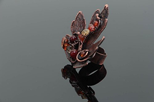 - Handmade Designer Copper Jewelry Ring With Natural Cornelian Stone