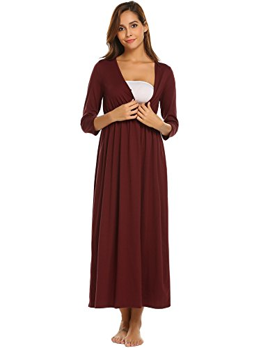 Skylin Nursing Pjs Loungewear Women Maternity Clothes Breastfeeding Nightwear (Wine Red,Large) by Skylin