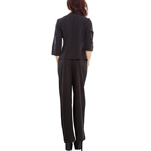Toocool - Completo donna gessato pantaloni palazzo giacca aperta elegante sexy GI-11365 [Taglia unica,nero]