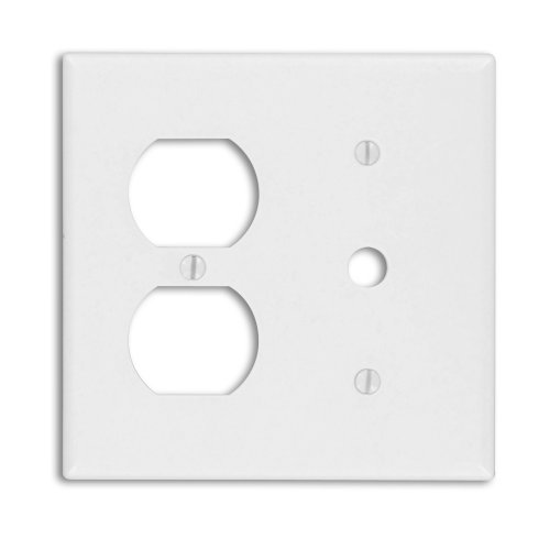 Leviton 88078 2-Gang 1-Duplex 1-Telephone/Cable .406 Device Combination Wallplate, Thermoset, Strap Mount, -