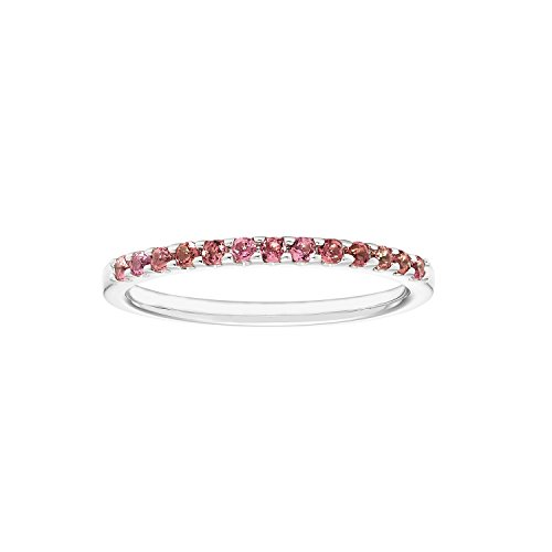 14K Gold Genuine Pink Tourmaline Stackable 2MM Wedding Anniversary Band Ring- October Birthstone -