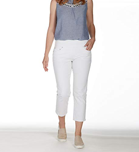 - Jag Jeans Women's Peri Straight Pull on Crop, White 12