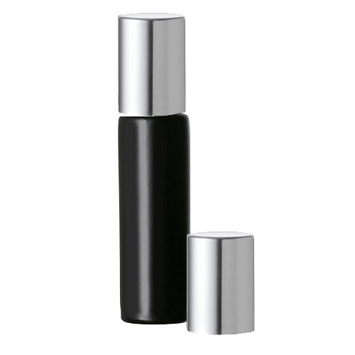 Grand Parfums Black Glass Roll-on Bottles with Silver Top 10ml for Aromatherapy Perfume Cologne Fragrance (3 Bottles)