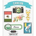 Scrapbook Customs - Tropical Excursions Collection - Doo Dads - Self Adhesive Metal Badges - Cancun - Journal