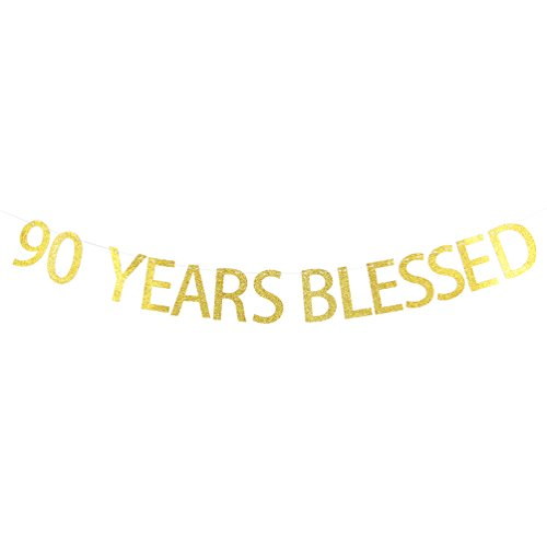 Gold Glitter 90 Years Blessed Banner