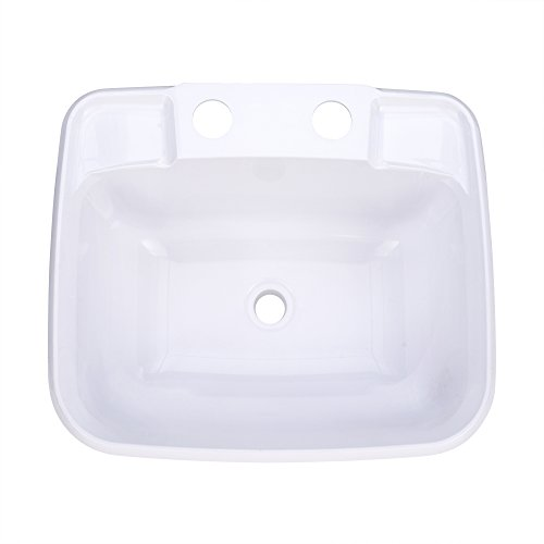 (RecPro Rectangle RV Bathroom Sink | White | Single Bowl Lavatory Sink | Camper Sink | Plastic )