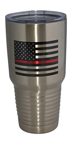 Thin Red Line Flag Firefighter Large 30oz Travel Tumbler Mug Cup w/Lid Vacuum Insulated Fire Fighter Department FD Fireman Gift