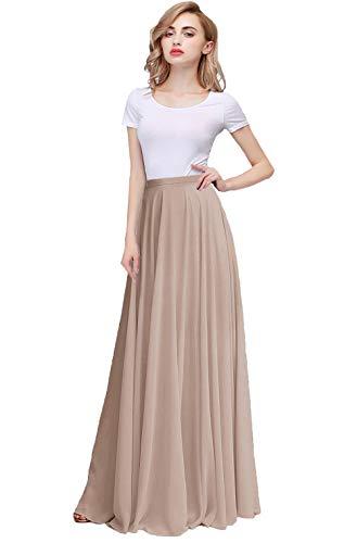 Honey Qiao Chiffon Bridesmaid Dresses High Waist Long Woman Maxi Skirt Champagne