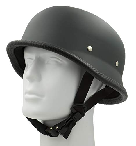 Hot Choppers - Hot Rides Classic Chopper Biker ATV Helmet Novelty (Non Dot) For Cruiser Harley Scooter German OSFM Flat Black
