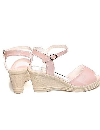 ShangYi Sandaletten für Damen Damenschuhe-Sandalen-Büro / Kleid / Lässig-Glanz / Kunstleder-Keilabsatz-Wedges-Blau / Rosa / Weiß , white-us7.5 / eu38 / uk5.5 / cn38 , white-us7.5 / eu38 / uk5.5 / cn38