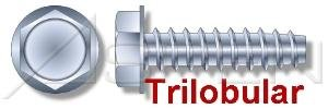 (60000PC) #6 X 1/4', Trilobular Thread-Rolling Screws, Hex Indented Washer, No Slot, 48-2 Threading, Full Thread, Steel, Zinc Plated and Waxed Ships FREE in USA by Aspen Fasteners