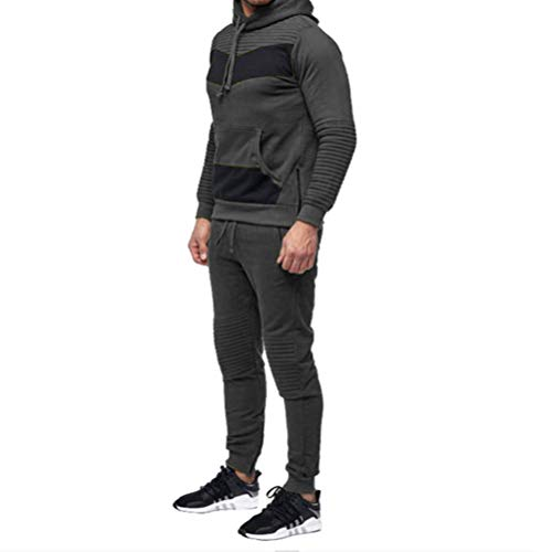 Mens Long Sleeve Camo Hoodies Sweatshirt + Tracksuit Long Pants 2Pcs Sets with Pockets (XXX-Large, Dark Gray)