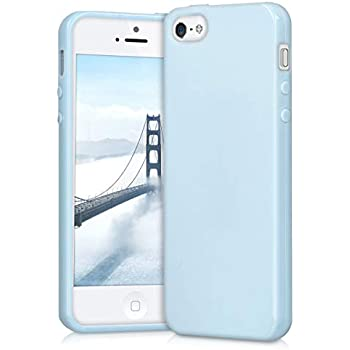 3fe8d2b7d kwmobile TPU Silicone Case for Apple iPhone SE   5   5S - Soft Flexible  Shock Absorbent Protective Phone Cover - Light Blue Matte