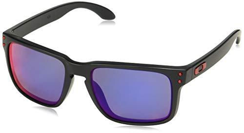 Oakley Holbrook OO9102-36 Iridium Sport Sunglasses,Matte Black/Positive Red Iridium,55 mm