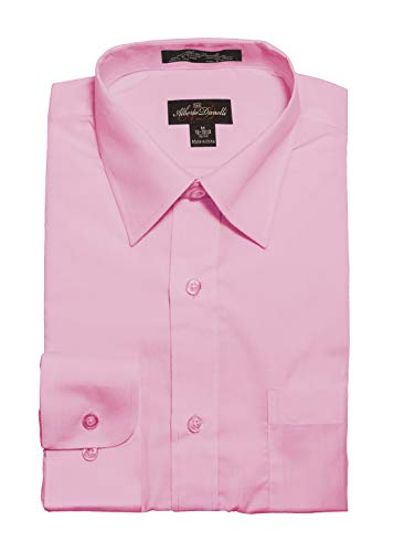 Alberto Danelli Men's Solid Long Sleeve Dress Shirt Blush Medium / 15-15.5