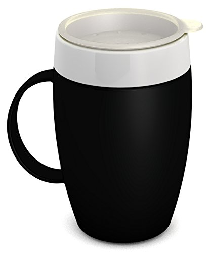 - Ornamin Mug with Internal Cone 140 ml Black with Thermal Function and Drinking Lid (Model 905 + 814) / Thermo Mug, Drinking aid, Nosey Cup, Feeding Cup