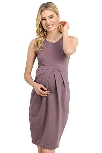 LaClef Women's Knee Length Midi Maternity Dress with Front Pleat (Medium, Dark - Pleats Skirt Drop Waist