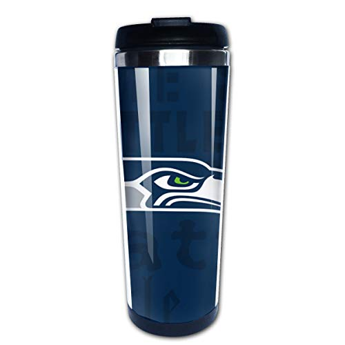 (Jacoci Seattle Seahawks Double Wall Coffee Mug Vacuum Cup Travel Flask For Hot & Cold Drinks,10oz(400ml))