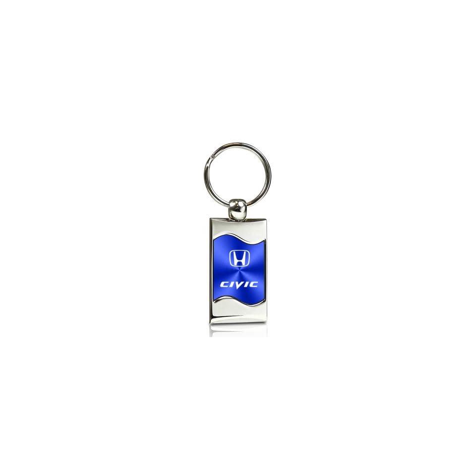 Honda Civic Blue Spun Brushed Metal Key Chain