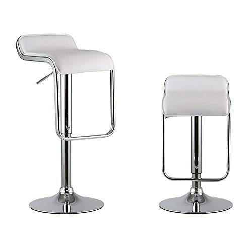 Attraction Design Bar Stools Set of 2, Y K Decor PU Leather Modern Adjustable Swivel Bar Stools Hydraulic Lift Counter Height Dining Chair Barstools White-b