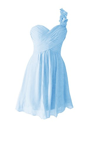 Snow Lotus Women's Chiffon Short One Shoulder Bridesmaid Dresses (10, Light Blue)