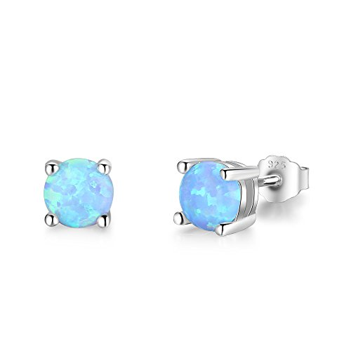 Opal Vintage Earrings - Acefeel 18K White Gold Plated Silver 5MM Simulated Opal Birthstone Stud Earrings Women Jewelry (Blue)