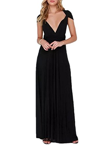 Dress Convertible Black Little - PERSUN Women's Convertible Multi Way Wrap Maxi Dress Long Semi Formal Party Long Dresses