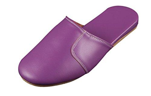 Zapatillas De Señora Cattior Mujeres Solid Comfy Leather Slippers Purple