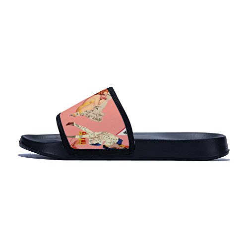 Different Drying Buteri Vintage Quick Slip Black Slippers for Two Womens Newspaper Slippers Sides Non wUq4z5U