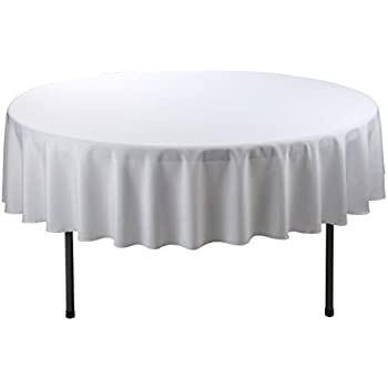 E TEX Round Tablecloth U2013 70 Inch U2013 White Round Table Cloth For Circular  Table In Washable Polyester